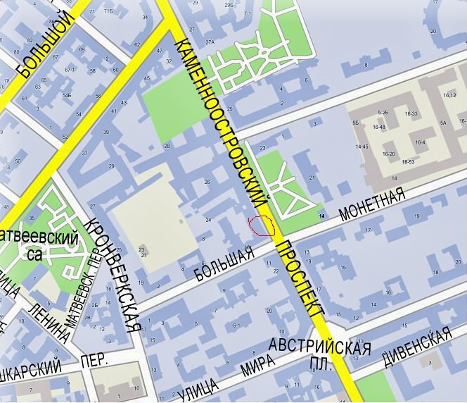 Фрагмент карты Петроградской.